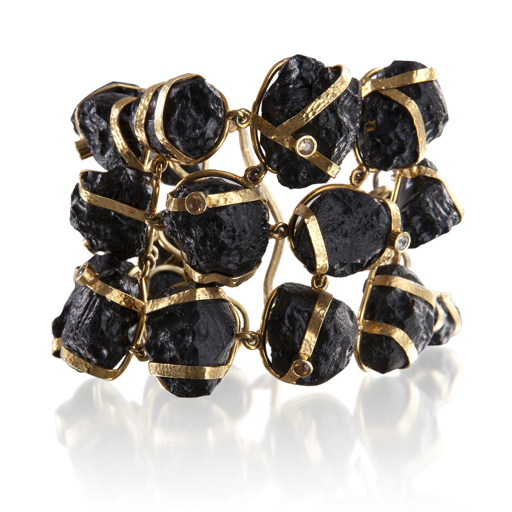 Tektite (China) bracelet with natural cognac zircon (Myanmar) and gold-plated silver
