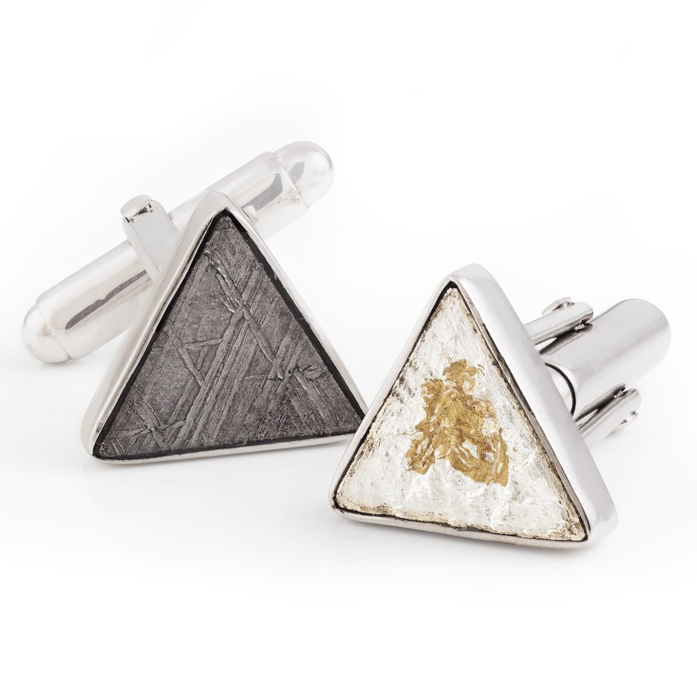 Meteorite (Russia) cufflinks, set in white gold-plated 925 silver