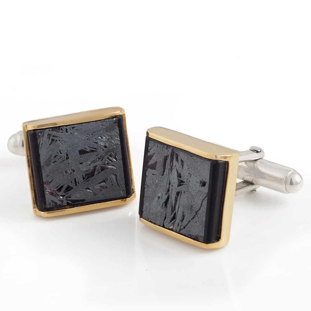 Meteorite (Russia) cufflinks with 18K yellow gold and black jade covered by thin layer of rock crystal quartz cufflinks, set in white gold-plated 925 silver