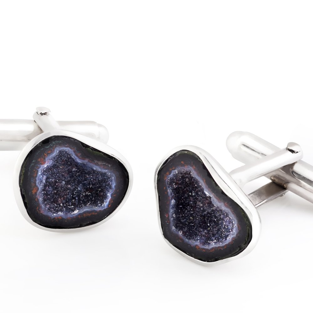 Drusy agate (Brazil) cufflinks, set in white gold-plated 925 silver