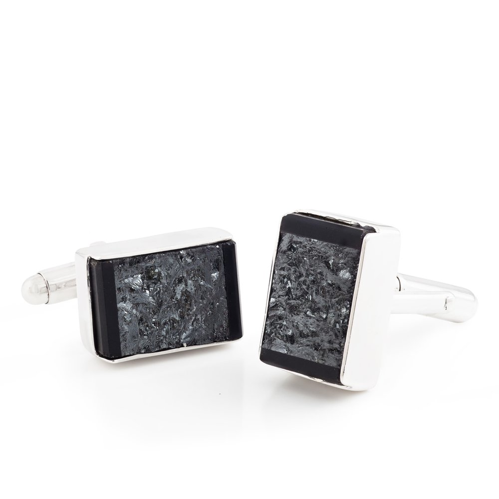 Meteorite (Russia) cufflinks with black jade covered by thin layer of rock crystal quartz cufflinks, set in white gold-plated 925 silver