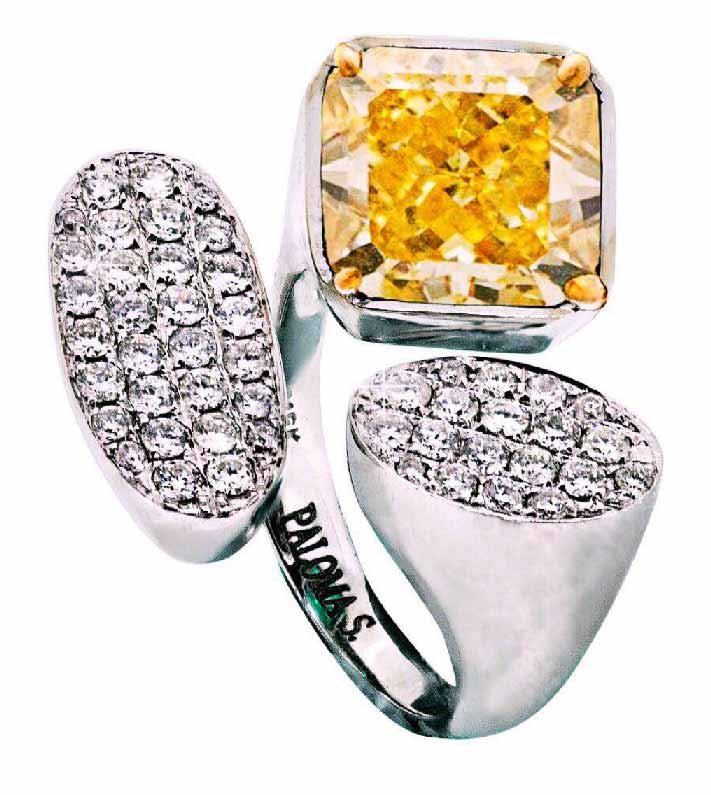 Cushion Cut 4.19cts Natural Fancy Vivid Yellow Diamond Set in 18 karat White Gold and Colorless Diamonds