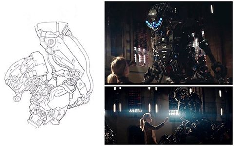 Robot concept and final render from Kill Command. This was a little bit of design crack although the job had my agent worried as it was an incredibly tight budget but, you know, I got to draw robots for a couple of days. The design was heavily revised during post but we made a proxy head for eyelines during the shoot. #robot #film #conceptart #vfx @vertigofilms