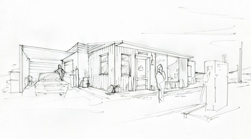 Line drawing of proposed set