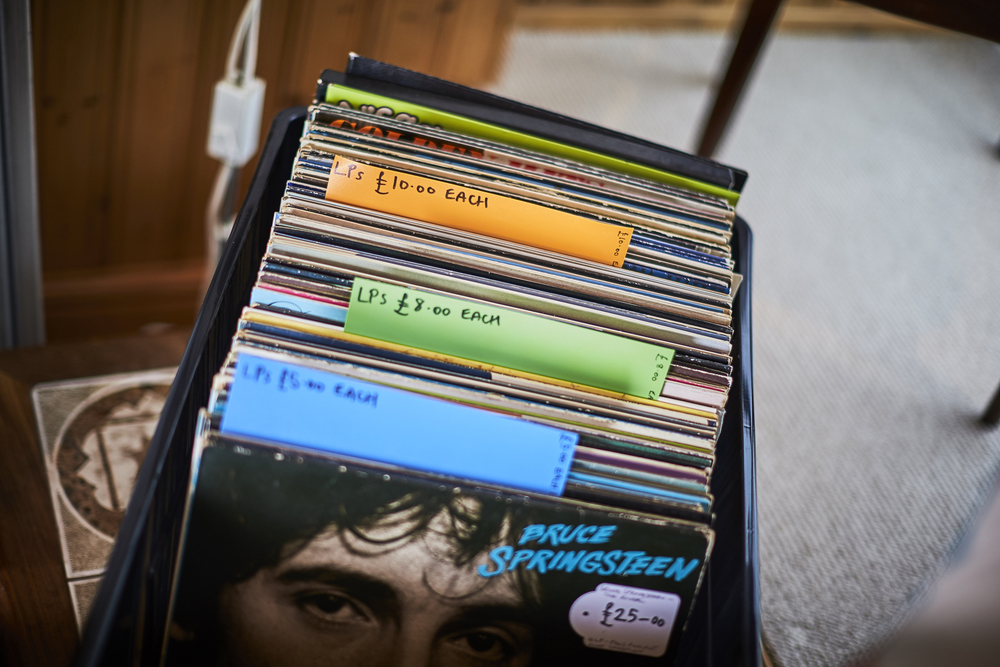 Stacks of groovy vinyls for sale