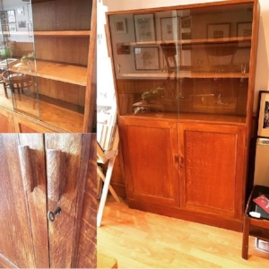 1940s Oak Glazed Bookcase