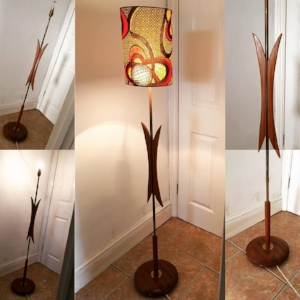 1960s standard lamp base in teak and brass
