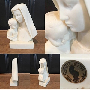 Vintage Alabaster Madonna & Child carving