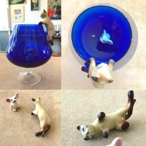 1960s Brandy Glass with ceramic siamese cat