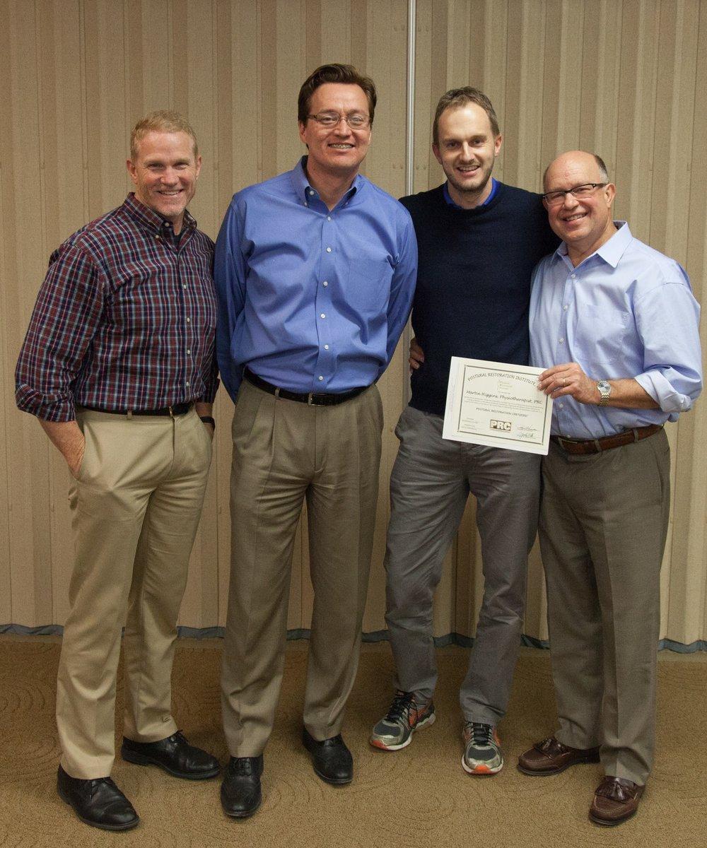 Postural Restoration Certification (PRC), Nebraska, USA, December 2015. From Left Mike Cantrell, James Anderson, Martin Higgins, Ron Hruska