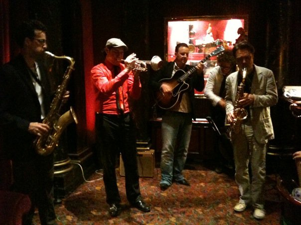 Hotel du Louvre, Paris with Jerome Etcheberry on trumpet and Raphael Dever on bass.