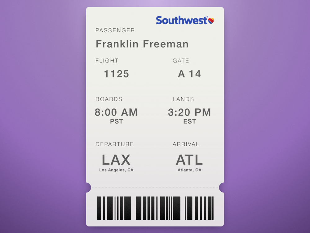 Daily UI #024—Boarding Pass