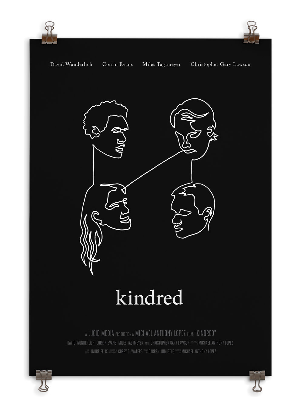 Kindred is an emotional short about a gay man meeting up with his ex-girlfriend and her boyfriend over dinner. This film was all about connections, so I wanted to show how they're all connected through simple, single connected line.