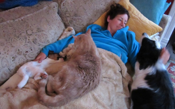 Newman sleeping with Jane, Finn, and Raime.