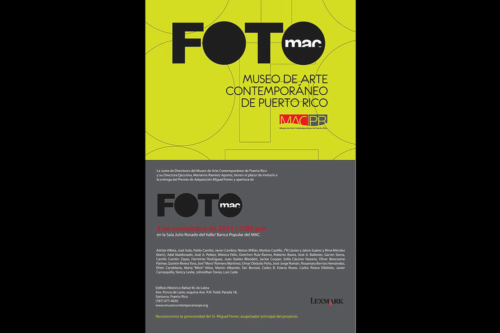 FOTOMac. Museum of Contemporary Art of Puerto Rico, 2011