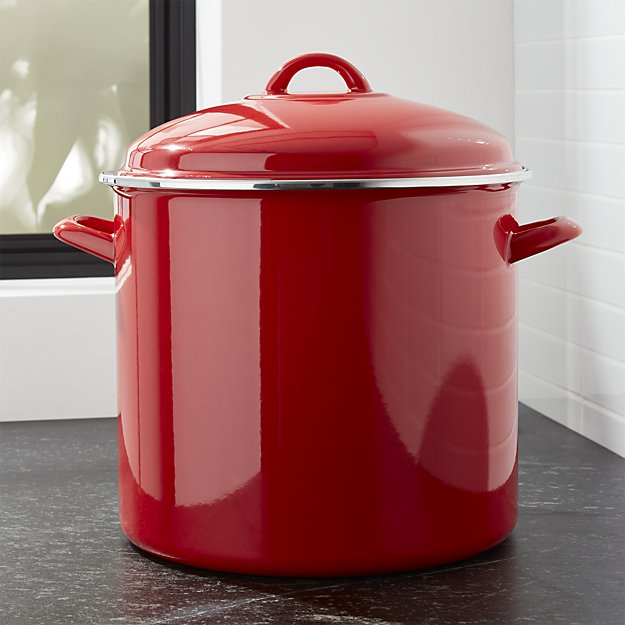 2. Not quite as sexy as the beautiful linens shown in number 1, but this practical and pretty stock pot is a must-have for Midwest wives who love to whip up big 'ol batches of fall and winter favorites like chili.   Crate and Barrel