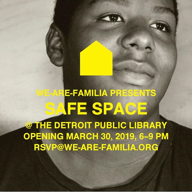 omgosh it is finally here. I can't believe how long it has taken to prepare for this exhibition but every second has been worth it. I can't wait to celebrate with this AMAZING list of artists. thank you to everyone who is making this possible! If you are in the Detroit area, PLEASE COME! . . . @we___are___familia presents #safespacedetroit, an exhibition of contemporary art and design, opening March 30, 2019, 6–9 PM @detroitpubliclibrary Main Branch 5201 Woodward Avenue        We-Are-Familia thanks @thesirenhotel for their generous support of this  exhibition. #thesirenhotel Detail of photograph by @marcolorenzetti . . . . . RSVP@we-are-familia.org. . . . .  Local Artists And Designers Aaron Blendowski @a__b__l__e Alex Youkanna @a5youkanna Aislinn Wendrow: Friendship Circle Soul Studio @fcsoulstudio Blake Jackson: Friendship Circle Soul Studio Bre'Ann White @breannwhlgn Chad Wentzel @chadwentzelmade Christian Mickovic @somemedium Elizabeth Youngblood #ElizabethYoungblood Jonathan Barnett: Friendship Circle Soul Studio Laura Quattrocchi @lauraquattrocchi Lauren Kalman @laurenkalman Marco Lorenzetti @marcolorenzetti Michael Christy #mchristyart  Nadiya I. Nacorda @nadiya_nacorda Nina Cho @studio_ninacho Osman Khan #OsmanKhan OUIZI (Louise Jones) @0uizi Renee Rials @renee_rials Sam Keller @sam_big_gulp Sarah C. Blanchette @sarahblanchettestudio Stephanie Harris: Friendship Circle Soul Studio TMRWLND Studio @tmrwlndstudio William Kang @prom_kang Xavier Savoy @xavierdraws  Visiting Artists Baang x Jared Hoffman @lebaang @maria_kozak @young_coconvt Megan M. Garwood @terrible_megan Mitchell Akiyama @the_noise_no_writing_can_store