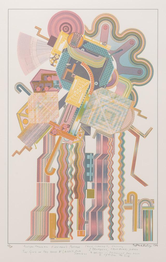 Allegro Moderat  o Fireman's Parade (  from the   Calcium of Light   portfolio),  Screenprint, 1974-76.