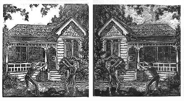Appearance of print (left) vs block image (right)
