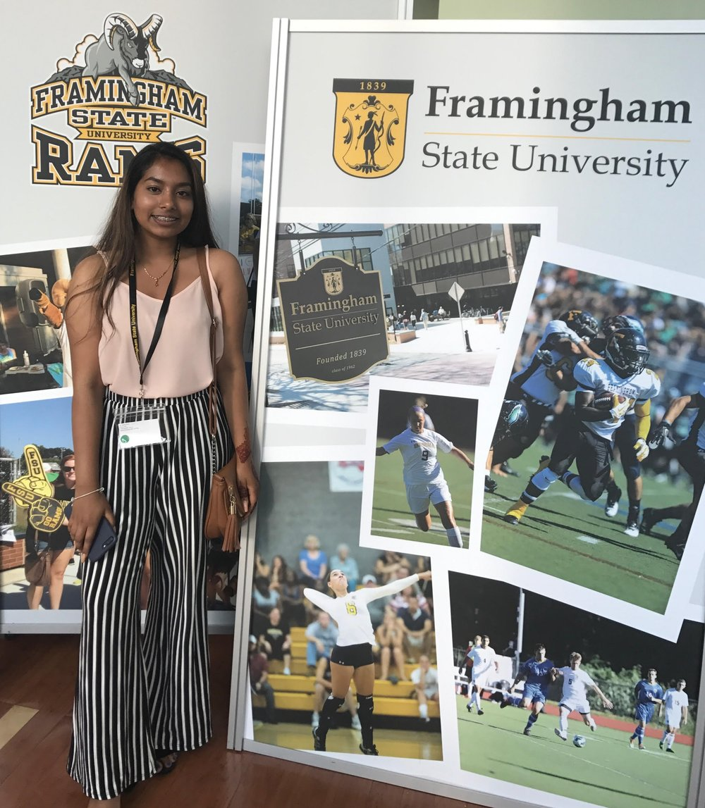 Enroot student Jarna pictured at freshman orientation. She will study Fashion Design and Marketing at Framinham State University. We look forward to working with Jarna and students like her in our College Success program!