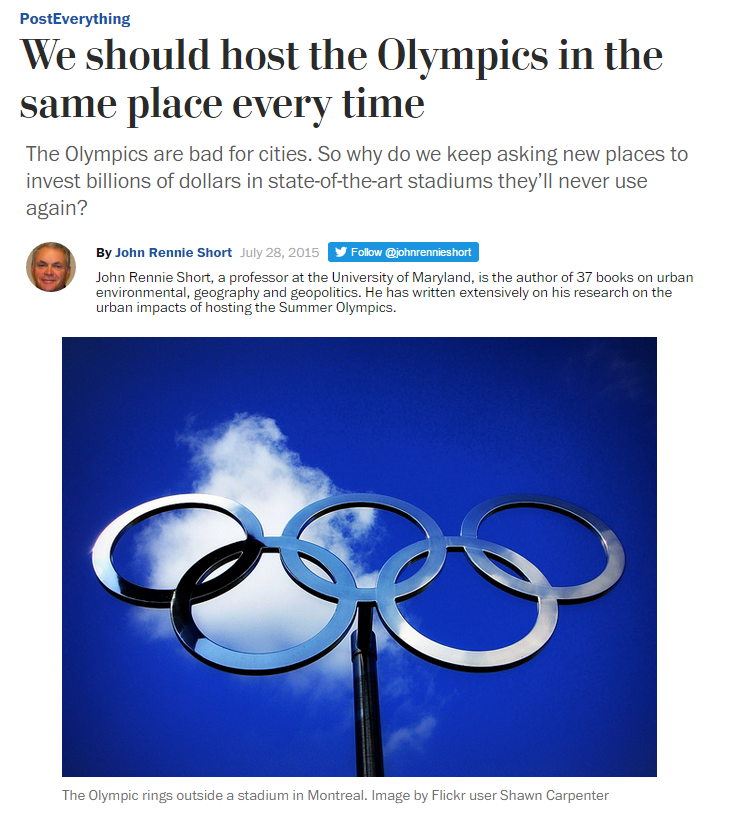 Ladder of Inference Article:  We should host the Olympics in the same place every time by John Rennie Short