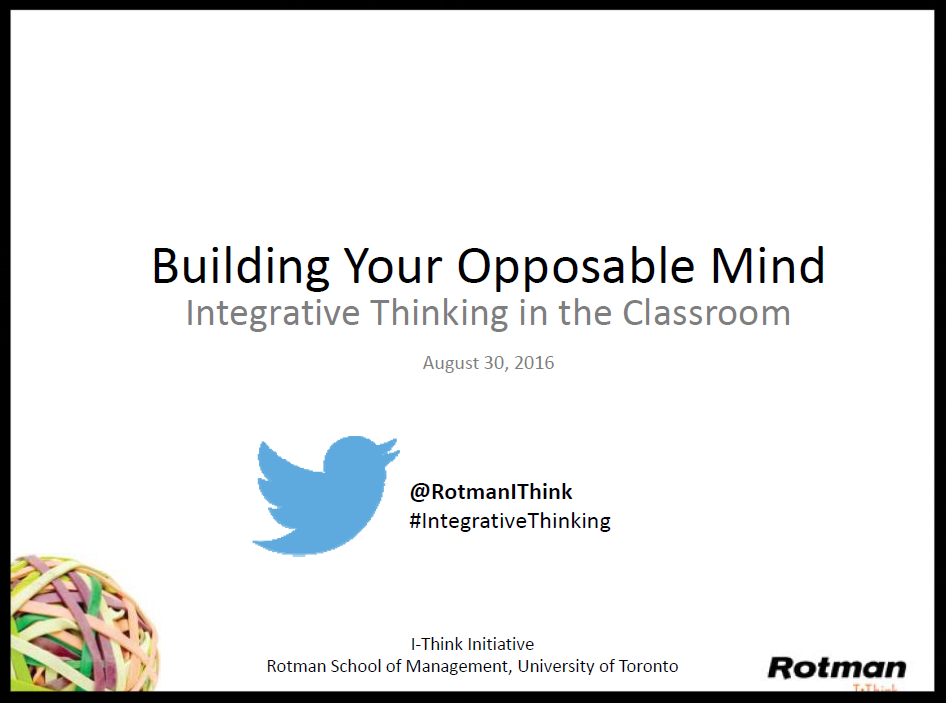 Introduction to Integrative Thinking Slides