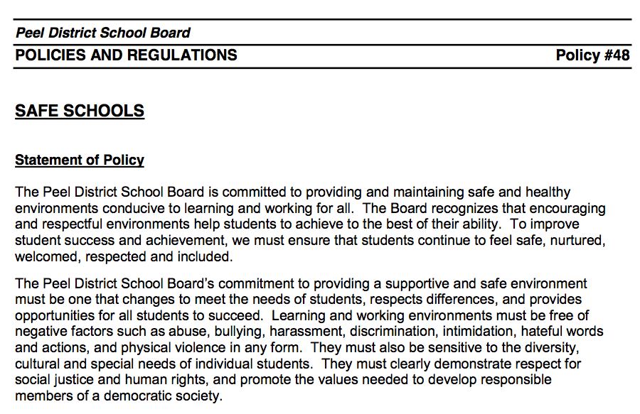 PDSB — Safe Schools Policy -