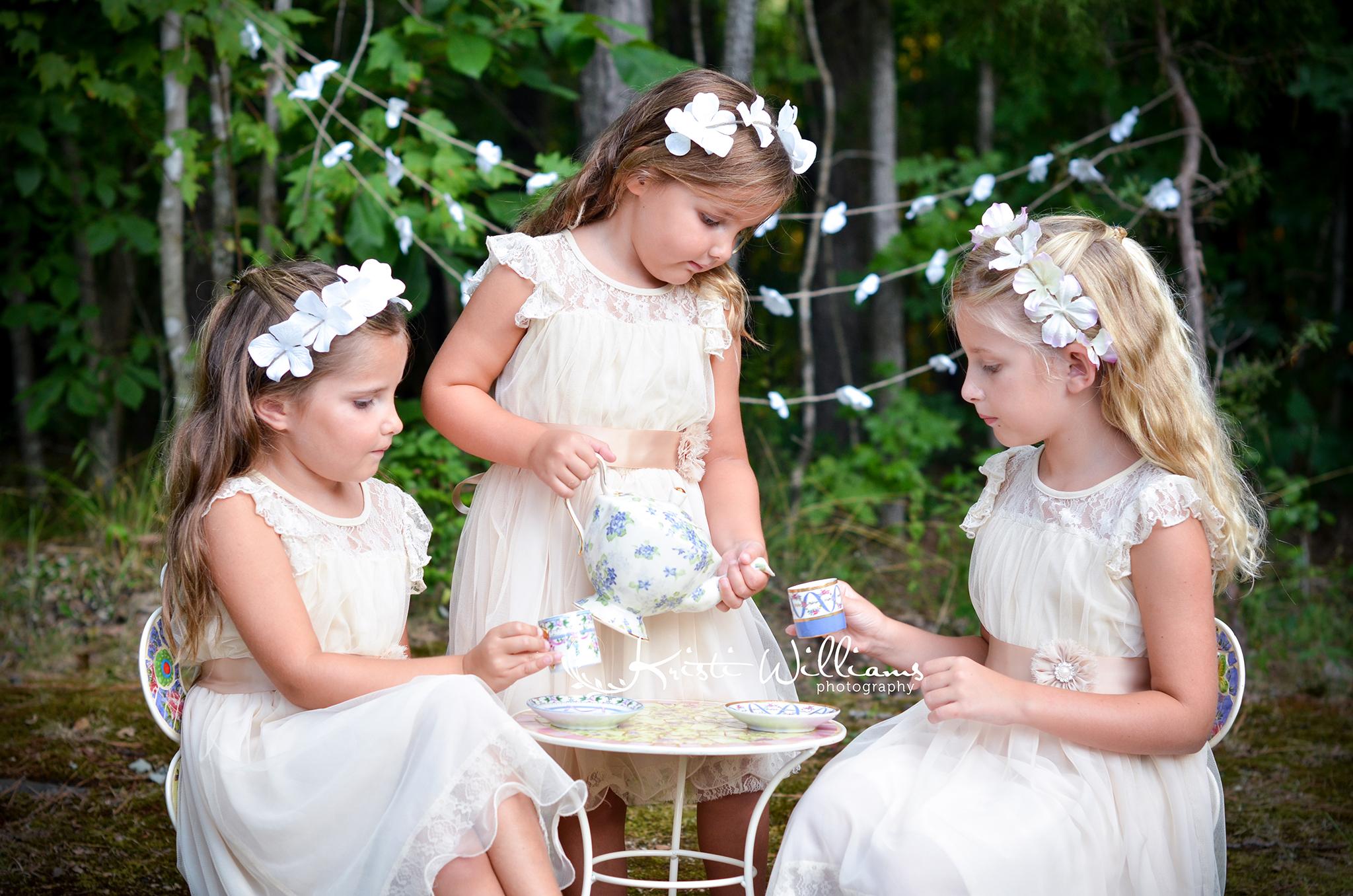 vintage backyard tea party photography