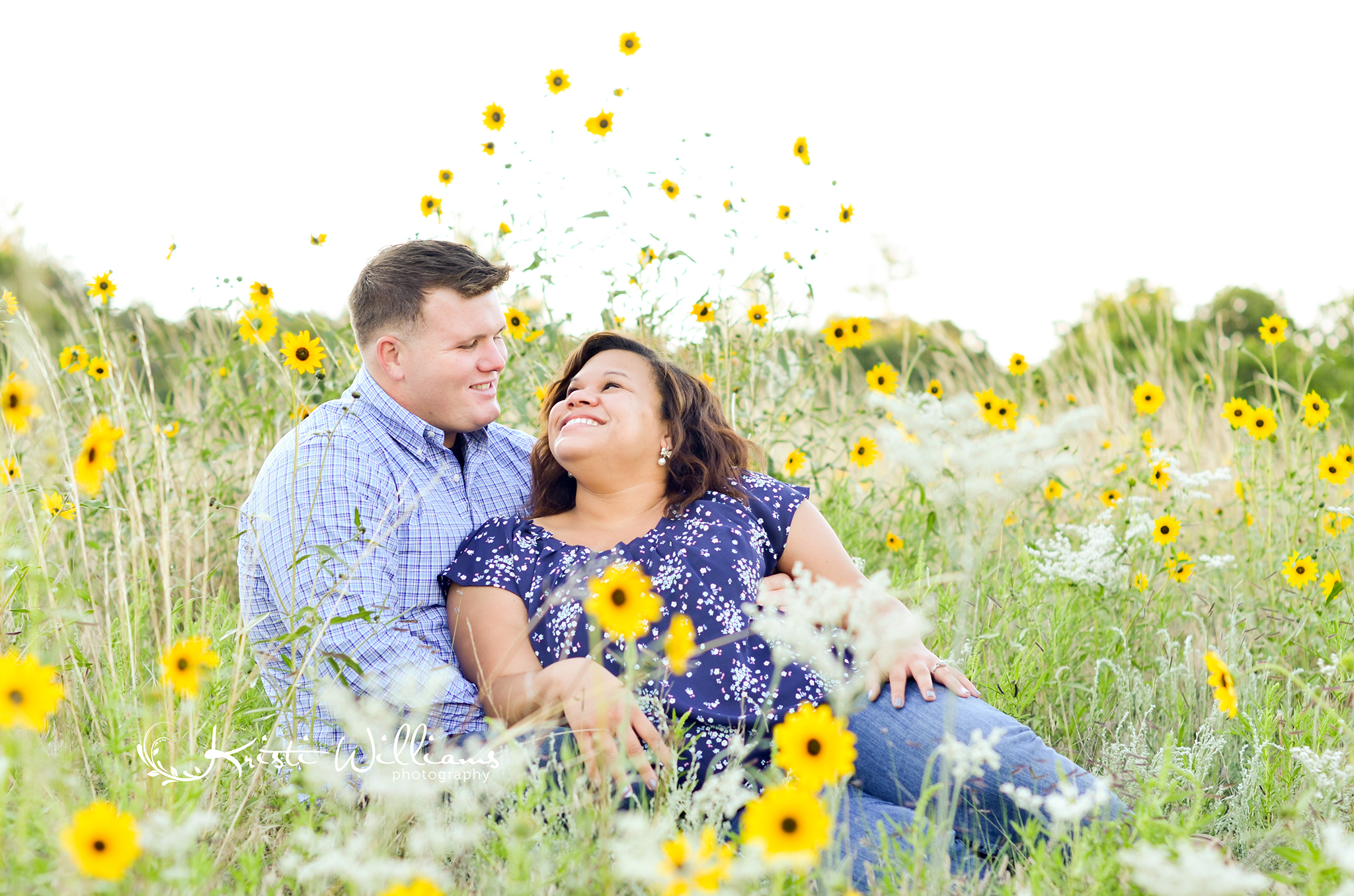 golden sunflower field engagement couple colorado springs