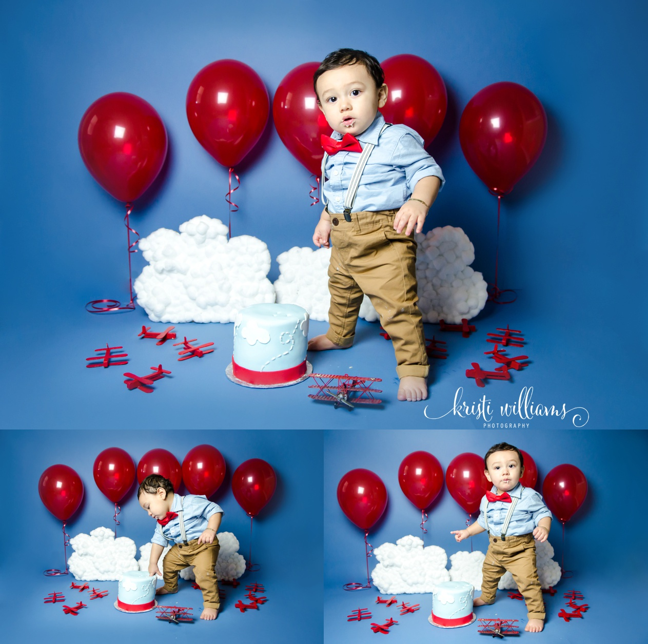 1st birthday vintage airplane cake smash www.kristiwilliamsphotography.com