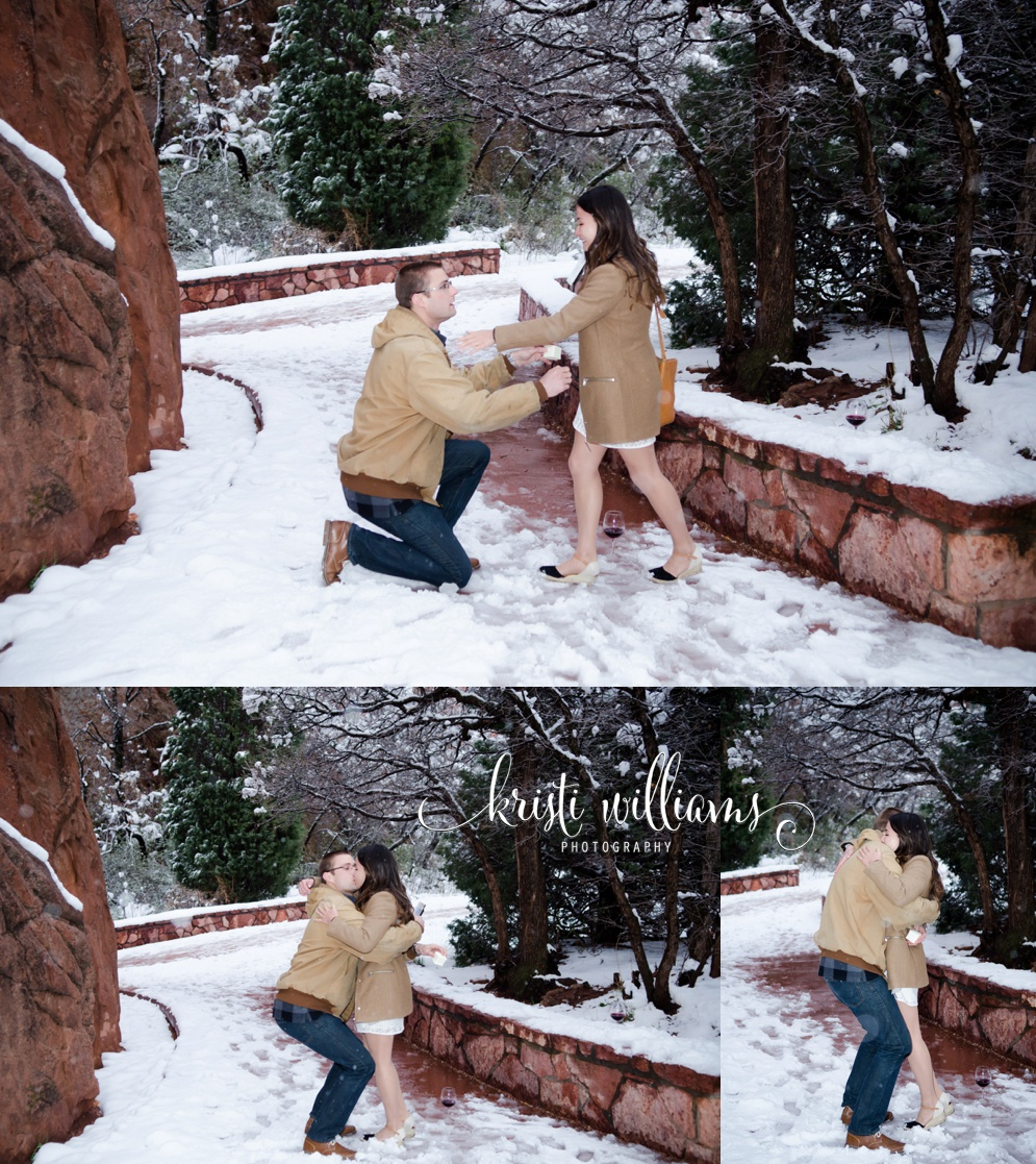 Garden of the Gods snow proposal spring Kristi Williams Photography