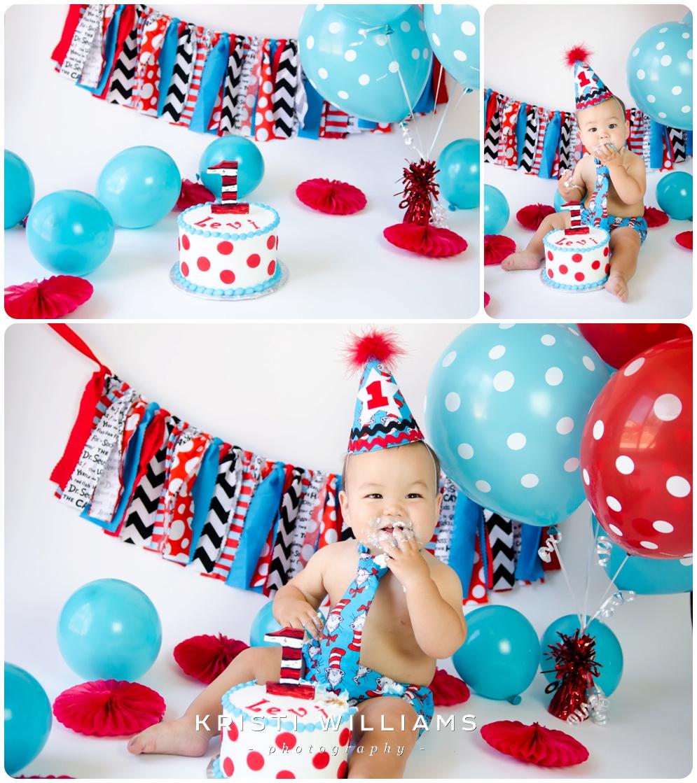 Dr Seuss 1st Birthday Cake Smash Kristi Williams Photography