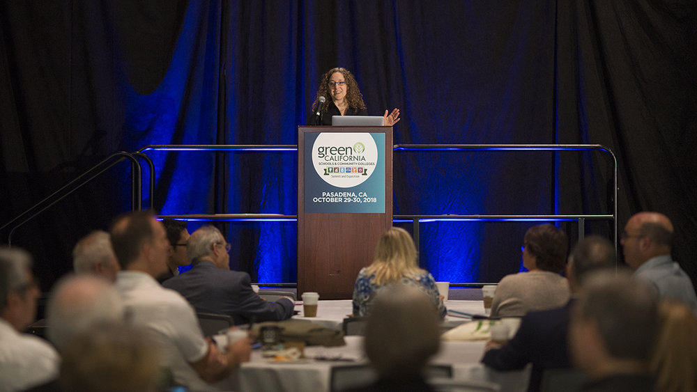 Sharon Danks (Green Schoolyards America) gave a keynote presentation at the Green California Schools and Community Colleges Summit this year. Photo by David McNew, courtesy of Green Technology.