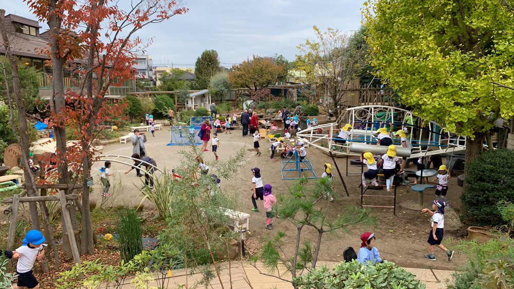 Preschool children play in the lush and exciting green schoolyard at Miyamae Kindergarten in Japan.