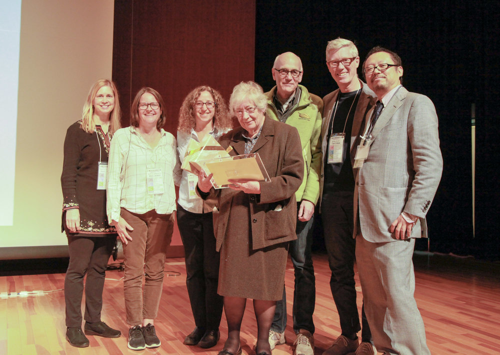 At the conference, Susan Humphries (center), who was the principal of The Coombes School in England for more than three decades, received a lifetime achievement award for her work as a pioneer in the global green schoolyard field. She is shown here with six members of ISGA's Executive Committee from the USA, UK, Sweden, Canada, and Japan.