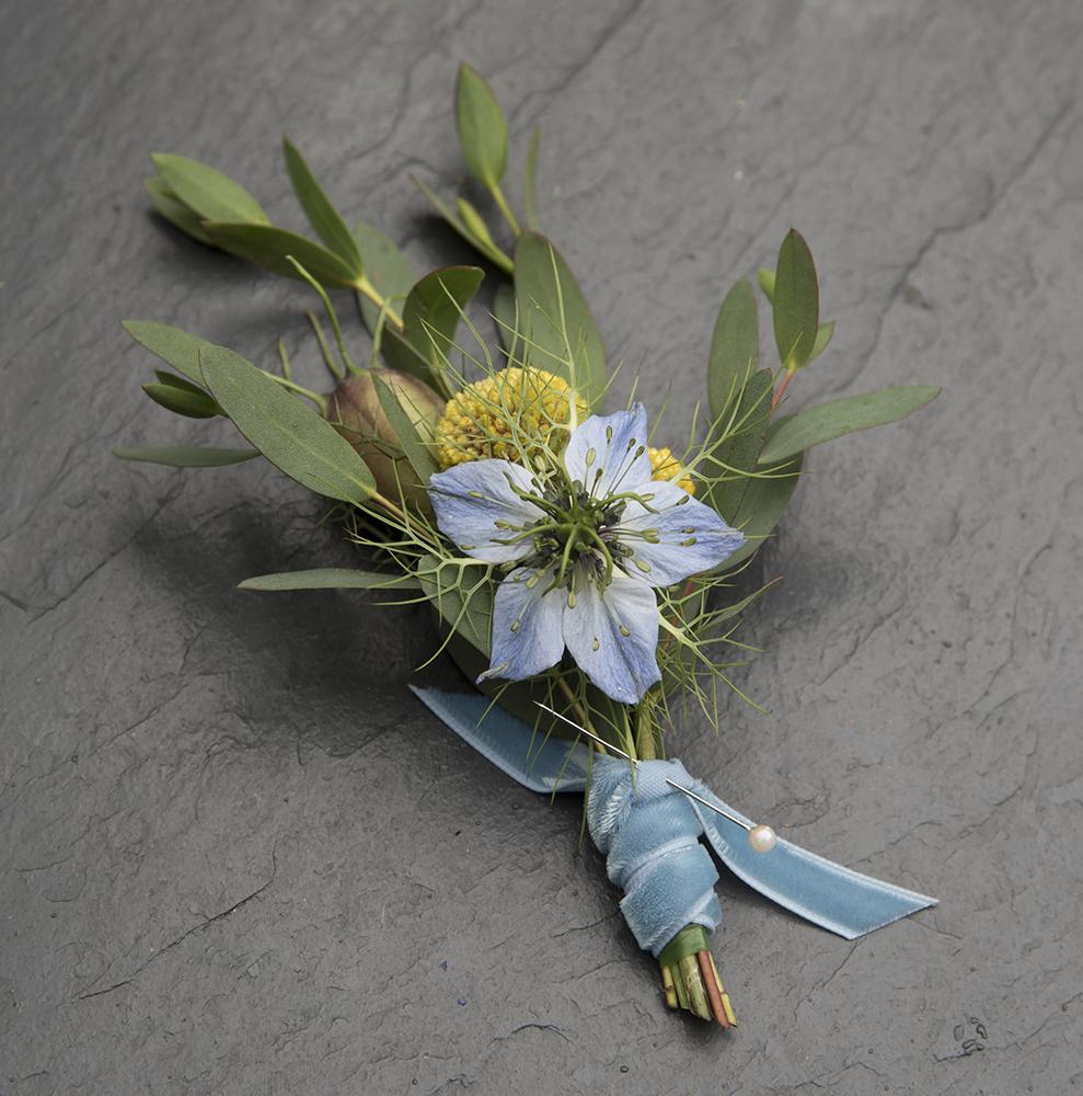 Blue floral buttonhole