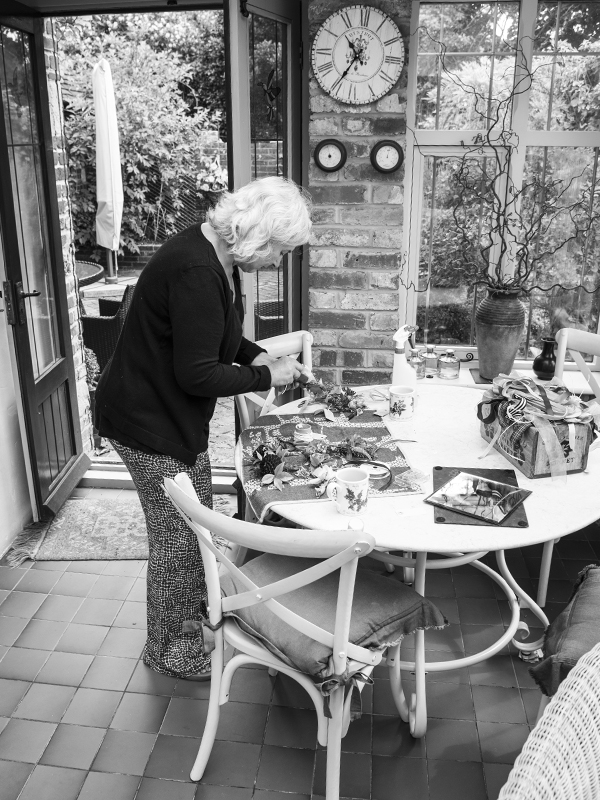 Tracey Kirker working in her garden studio on the outskirts of Lewes.
