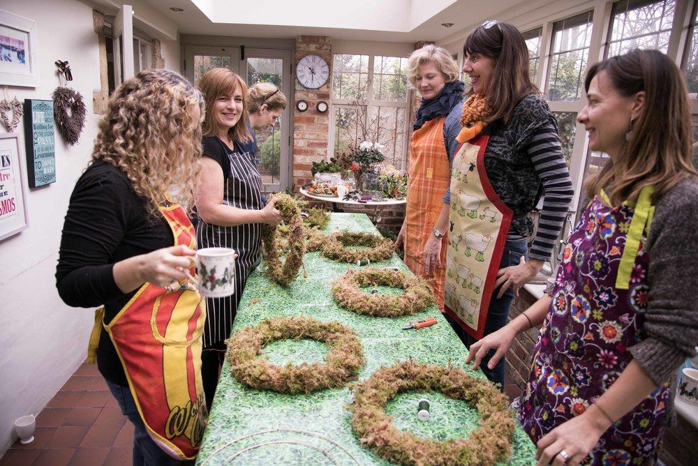 Ladies wreath making at darling Buds of Sussex workshop