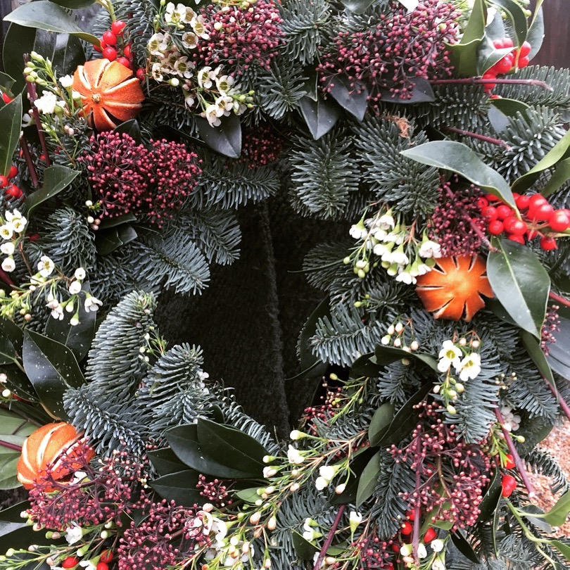 Natural christmas wreath by Darling Buds of Sussex