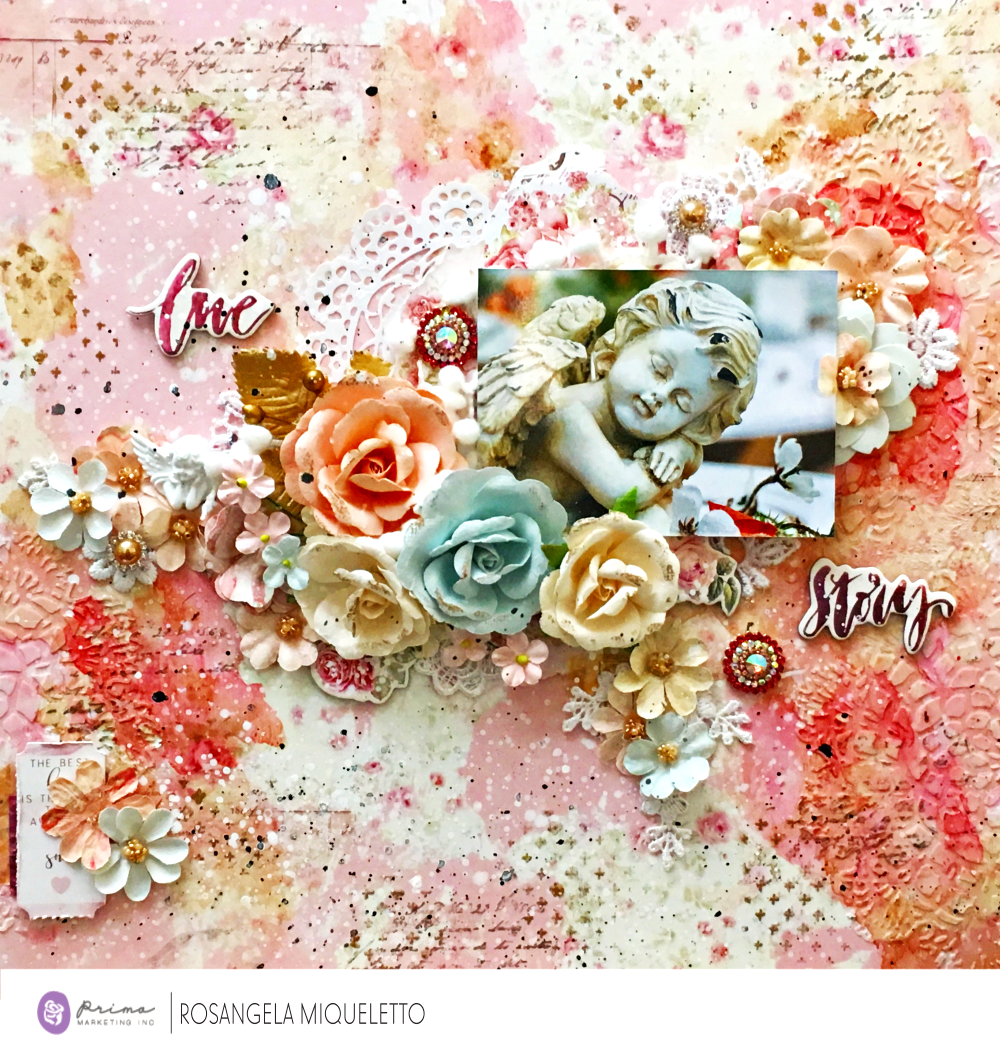 """Today I came to show you a layout I made with the Love Story collection - Frank Garcia. I fell in love with this collection! Pastel colors, romantic prints, beautiful and delicate embellishments. The flowers are wonderful, with several glamorous styles!"" ~ Ro"
