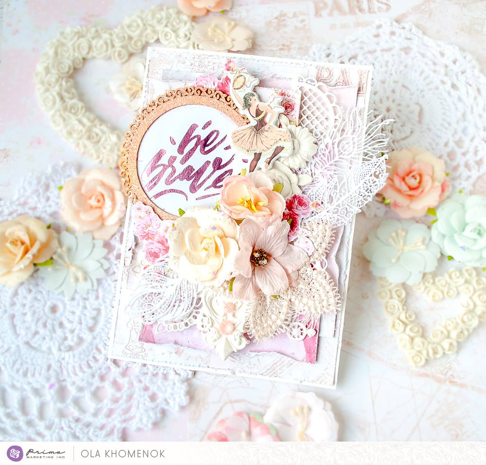 """This collection by Frank Garcia is just wonderful to create any tender projects! You can use it to make wedding albums and layouts, Shabby Chic style home décor and, of course, to make beautiful, soft cards. And you have so many amazing embellishments, coordinated with this collection to play with!"" ~ Ola"