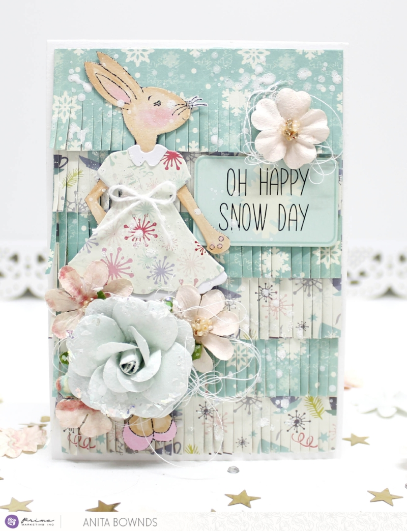 Happy SNOW day! In the northern hemisphere a few of us are getting snow right now Time to celebrate with this winter bunny card by Anita! With a bunny stamp that you can use over and over again, this card comes together quickly.