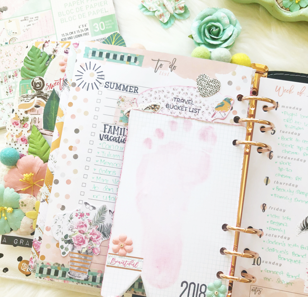 Here you can see how Jomelle used her planner to do a little memory keeping of her sweet daughter by adding a little personal touch, which is her foot print. This is so sweet and such a sweet addition.