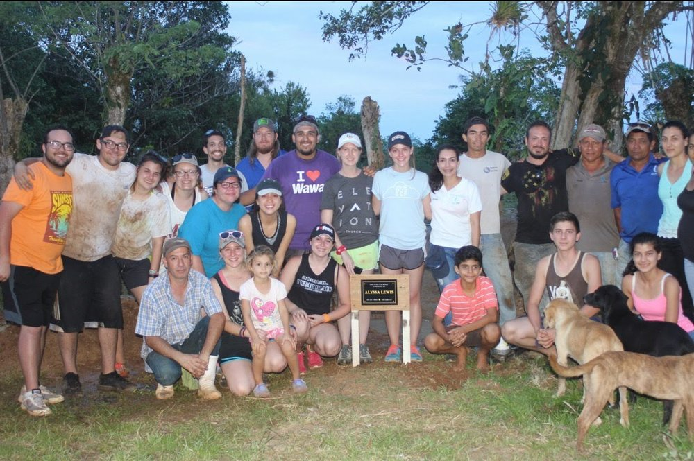 Our 2018 Mission Team to Costa Rica with the Agua Viva Staff, the family receiving the well. Built in memory of Alyssa Lewis.