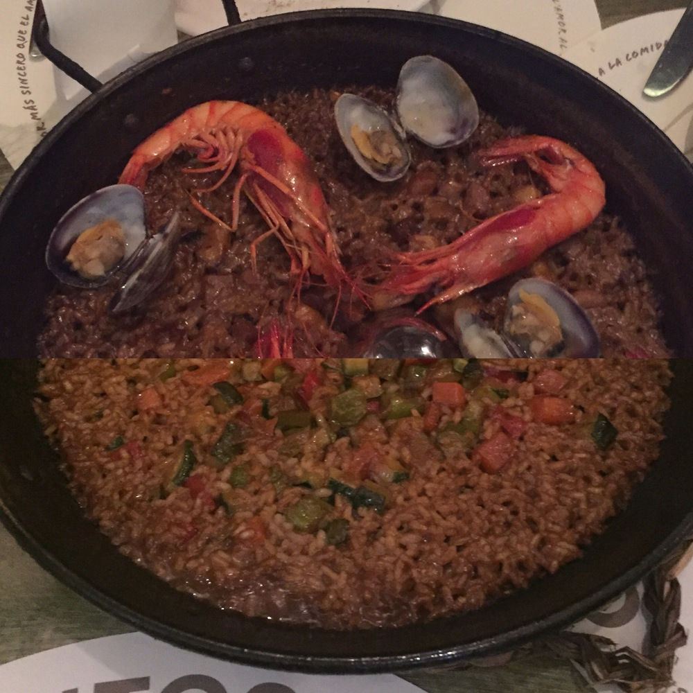 "Top: seafood paella, Bottom: ""vegetarian""paella"