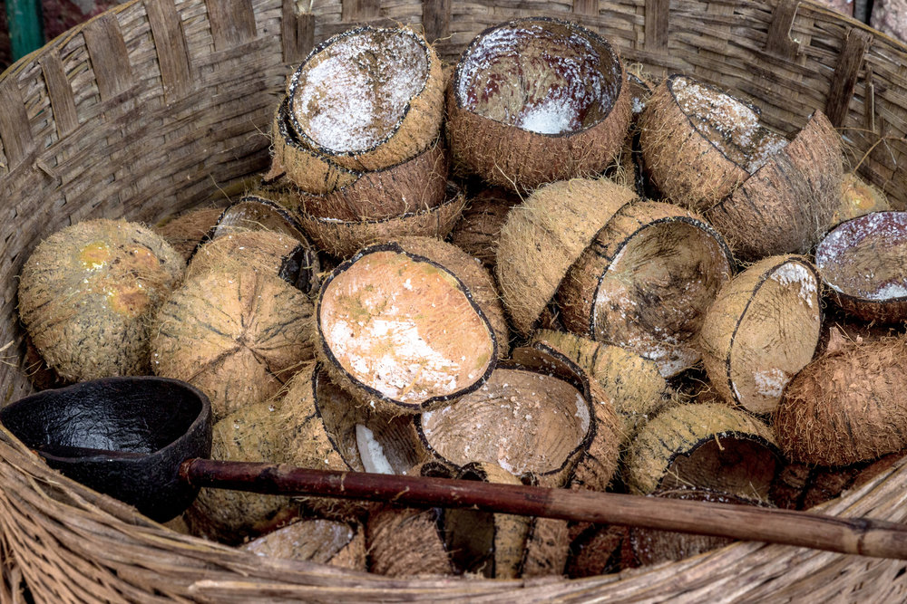 Raw coconuts used in the Malvan cuisine
