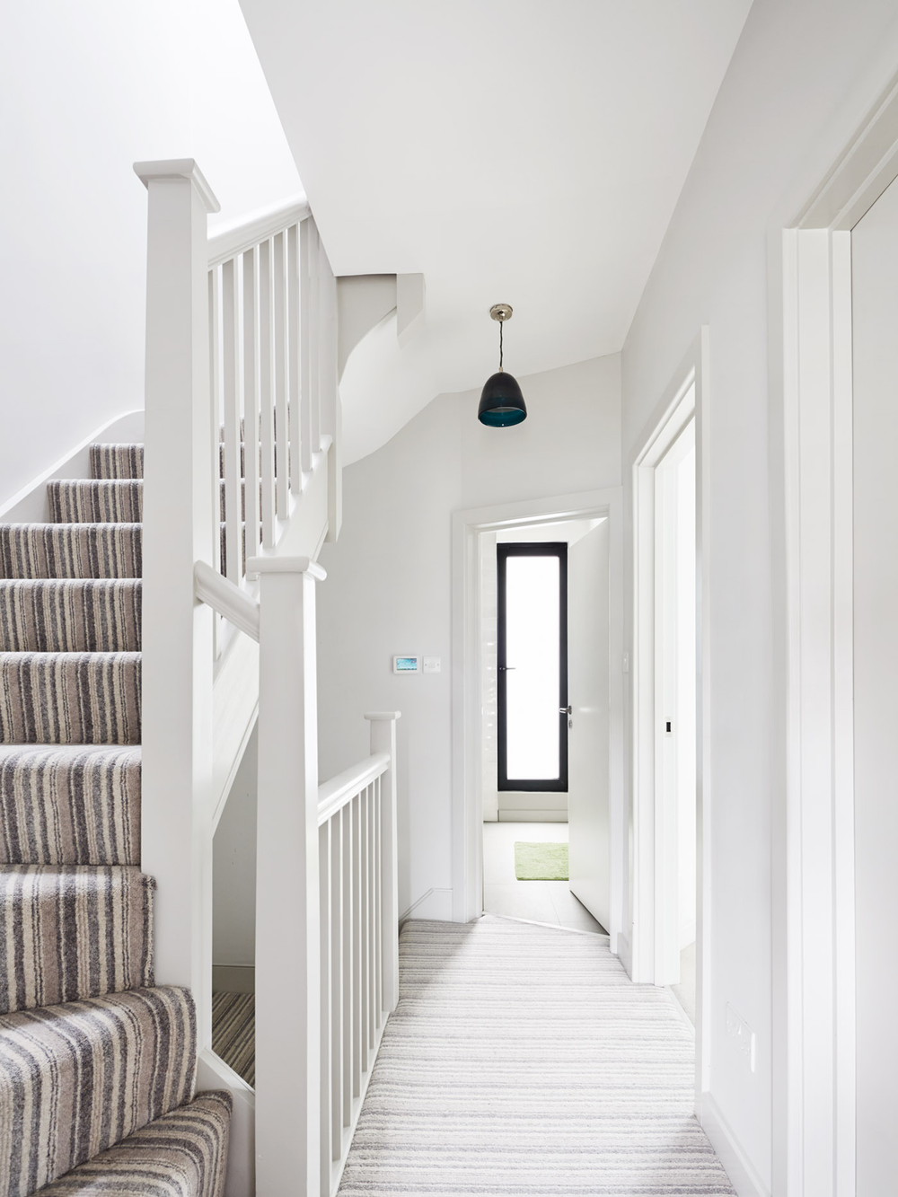 House C Staircase, Architecture, Interior design, Bonds Green, London, Extension, Refurbishment, Striped Carpet, Minimal, Clean, Modern, Elegant, White Interior, Steel Window, Duration