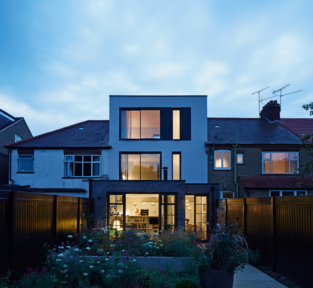 House C Sout View Night, Architecture, Interior design, London, Extension, Black Bricks, Modern, Elegant, Garden Living, Bonds Green