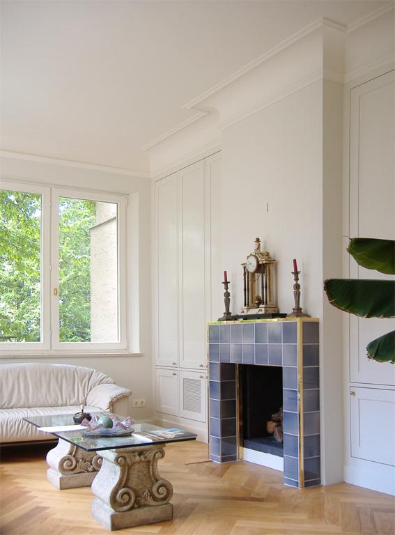 Maisonette Apartment R, Living, Interior Design, Fire Place, Listed Building, Refurbishment, Munich