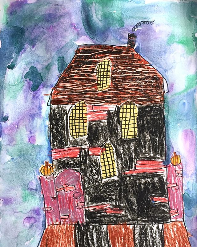 Happy Halloween! 🎃👻🍬 . Mixed Media Haunted House by 7-year-old Samantha . #happyhalloween
